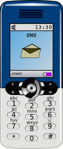 Blue and grey mobile phone clipart image