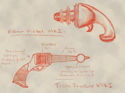 Ether Pistol MKI and Tesla Revolver MKI
