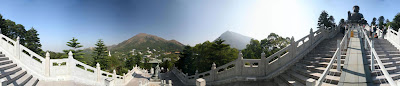 360 panorama of Tian Tan Buddha in Ngong Ping, Hong Kong