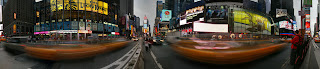 360 panorama of Time Square in New York at dusk. Panoramic Earth image by Peter Watts