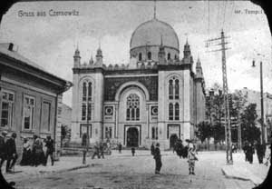The Jewish Choral Temple in Chernivtsi, set on fire in 1941 by the Nazis