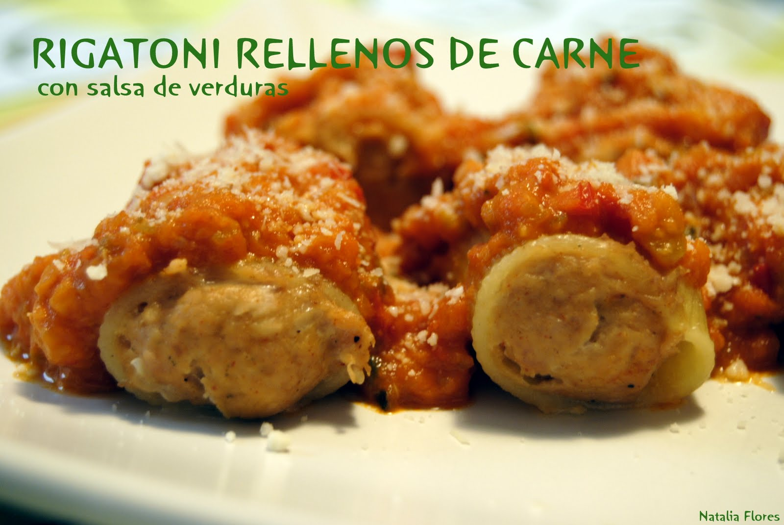 Cocina varoma rigatoni rellenos de carne con salsa de verduras - Salsa para relleno de carne ...