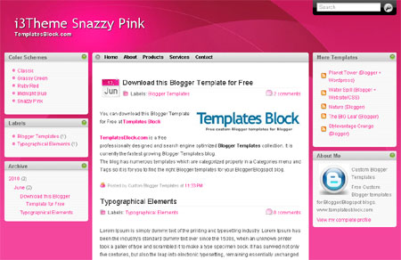 Free Simple Pink Web 2.0 Blogger Template
