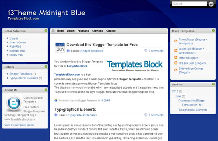 Free Simple Blue 3 Columns Blogger Template