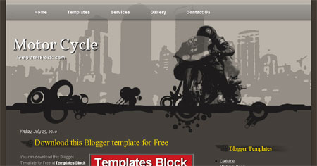 Motor Cycle Black Vector Blogger Template