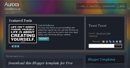Free Blogger Aurora Dark Grunge Black Template