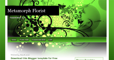 Metamorph Florist Black Green Blogger Template