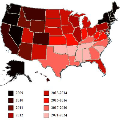 states that allow gay marriage 2009