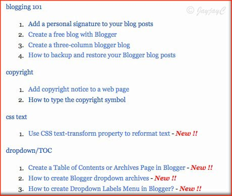 Jacqs Blogger Tips Create A Table Of Contents Or Sitemap For