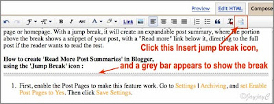 Screen shot to illustrate how to create the jump break in Blogger blogpost