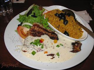 Grill Dory Mushroom - grilled herb dory, creamy mushroom, fresh salad and olive rice
