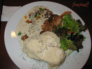 Grill Dory Mushroom - grilled herb dory, creamy mushroom, fresh salad and mashed potatoes