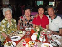 At Checkers, Dorsett Regency Hotel (from right: John, I, John's sister and mother)
