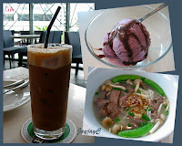 David's selection of Ramen with sliced beef, glass of mixed coffee+tea and ice-cream