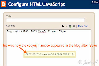 Screen capture on Configure HTML/JavaSript, a page element