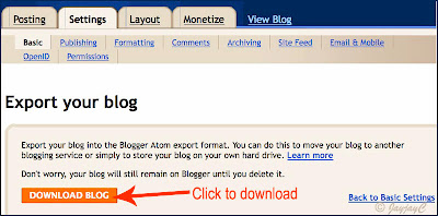 Screen shot, illustrating how-to export blog in Blogger - Step 2: download blog