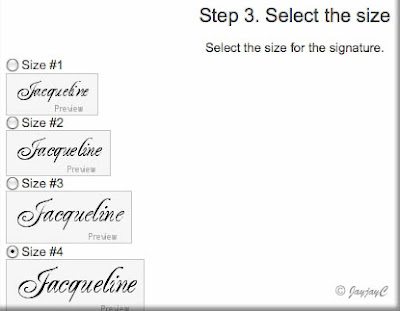 Screen shot on 'Select the size' for creating personalized signature