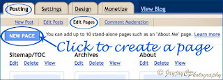 Screen shot to illustrate how-to create Blogger pages