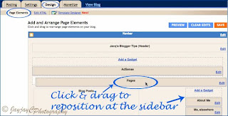 Screen shot to illustrate how to reposition the Page gadget (widget)