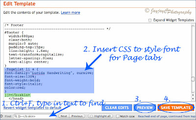 Template's screen shot showing how to insert CSS text to change the Pages tabs's font