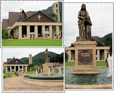 St Anne's Church, Statue of St Anne and a broader view from St Anne Square, Bukit Mertajam