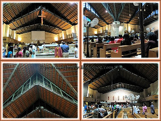 Collage showing the interior of St Anne's Church, Bukit Mertajam, Penang