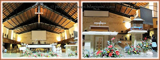 Collage of interior of St Anne's Church, focusing on its altar and the Blessed Sacrament