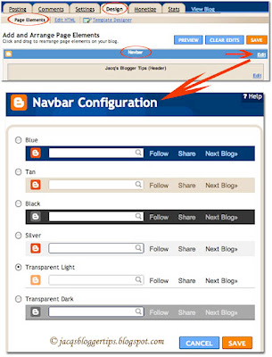 Screenshot to illustrate how to configure the colour of the Navbar in blogspot