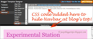 Screenshot to illustrate how to add CSS snippets at the Blogger Template Designer