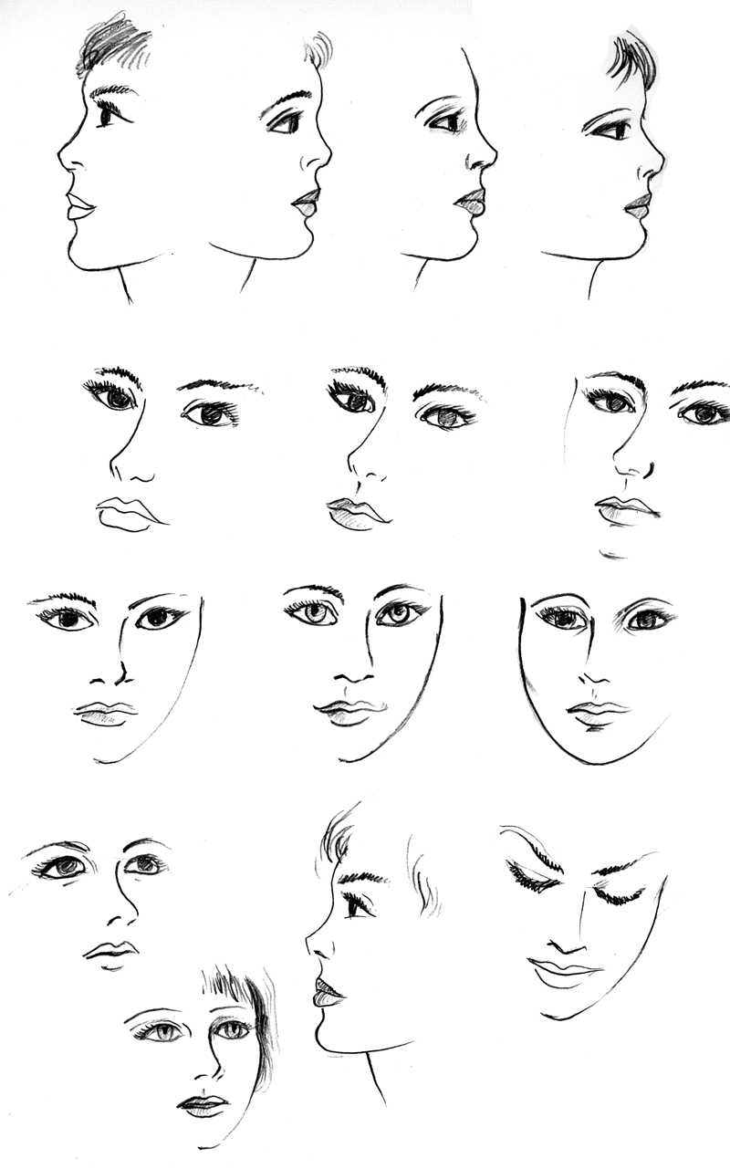 Art by products girly doodle faces for Girly drawings step by step