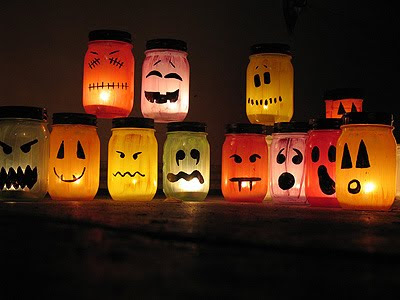 halloween painted jar luminaries tutorial