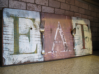 Distressed eat sign crafts by amanda for Barnwood sign ideas