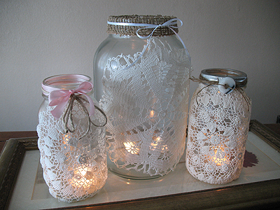 Craft Ideas Doilies on Beautiful In A Window Sill Or On A Fireplace Mantle