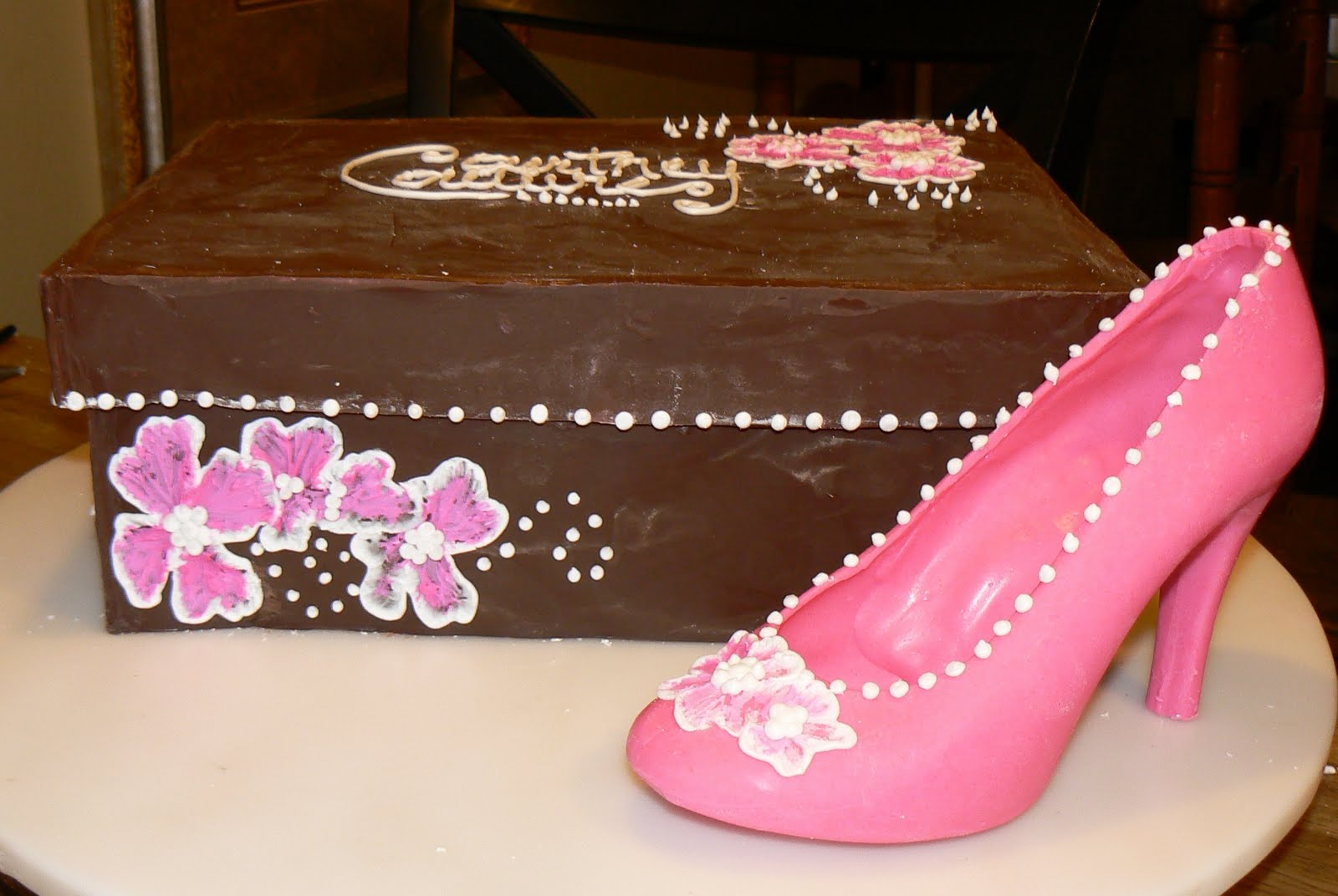 Birthday Cake Designs Shoes : Kelly Roberts Designs: Chocolate Shoe Box w/High Heel Cake