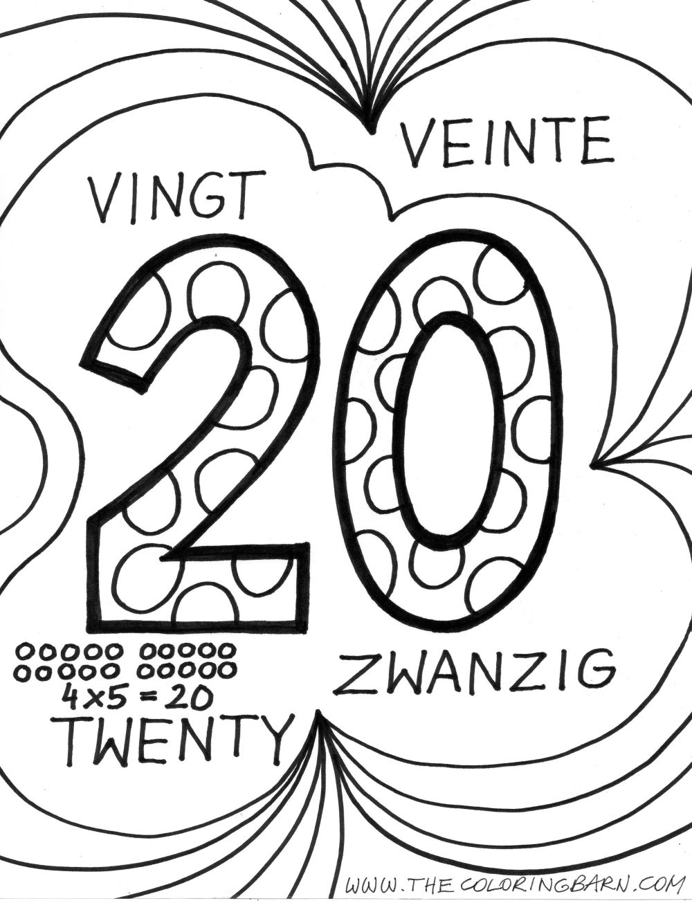 free coloring pages of bubble numbers 1