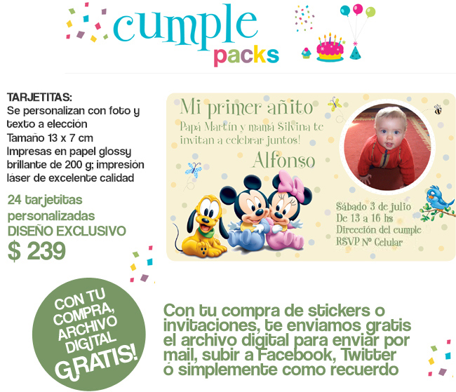 Cumple Packs: Baby Disney Mickey & Minnie / Stickers y tarjetitas ...