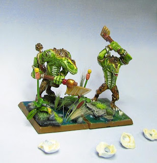 Two completed 5th edition Kroxigors from Games Workshop