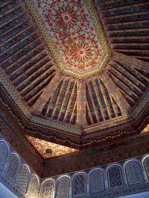 A mosaic ceiling in the Palais de la Bahia