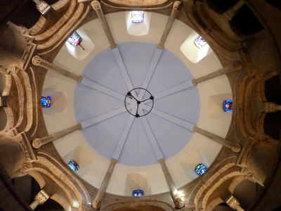 The view up to the dome in the Round Church. They kick you out if you lay down to look at it. This was taken subversively.