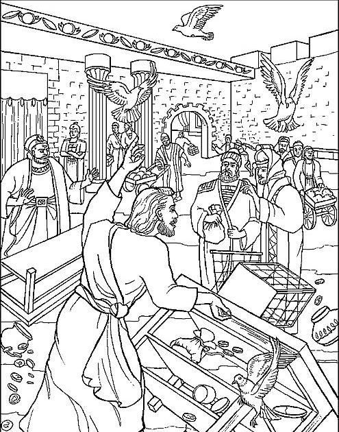 Educar con Jesús: Colorea Jesús y los vendedores del templo