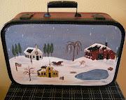 Winter Folkart Suitcase
