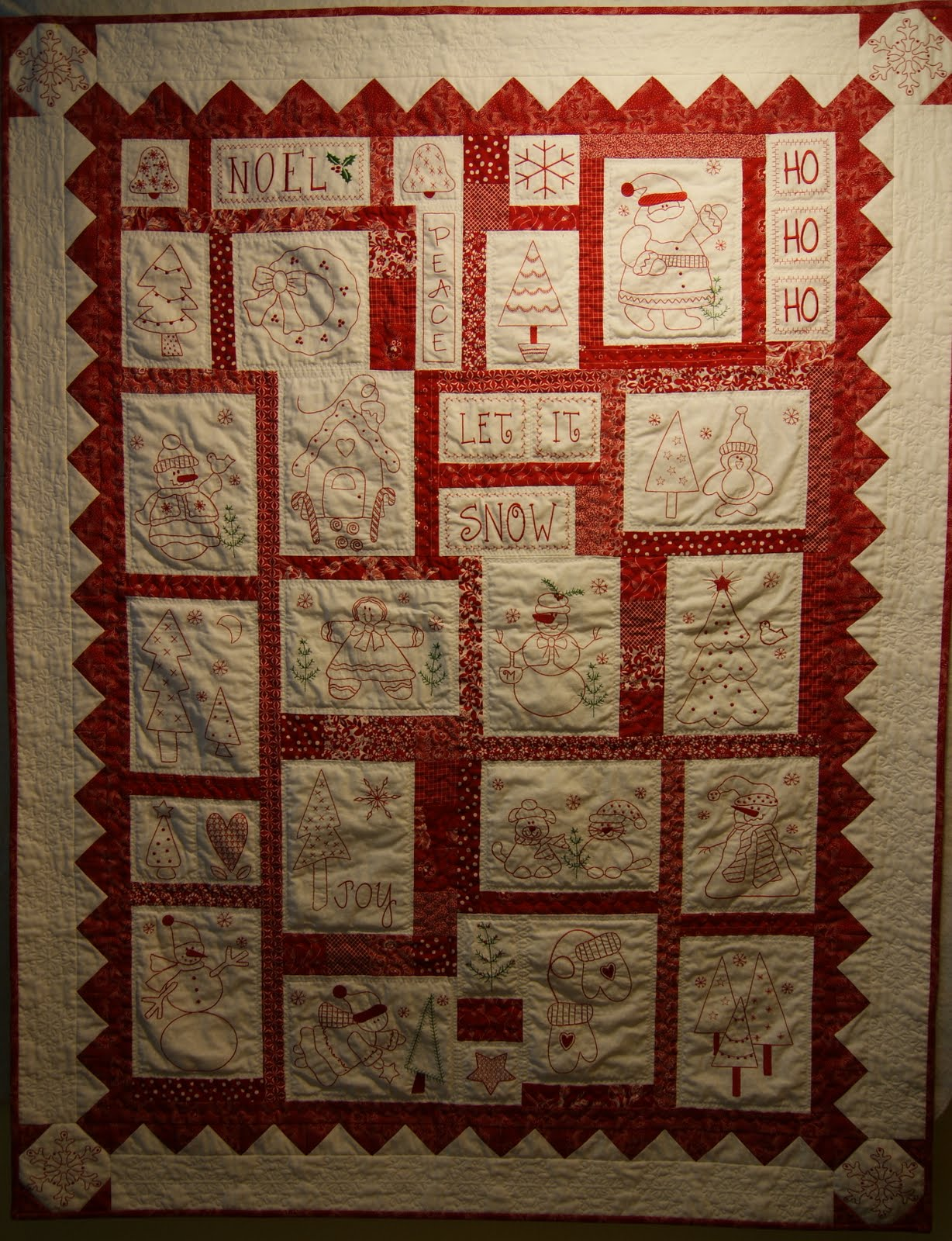 Redwork Quilt Patterns Christmas : One Piece at a Time: Holiday Redwork