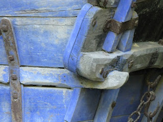 Blue cart on Troglodyte farm, France