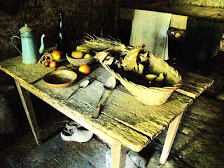 Table in home on Troglodyte farm, France