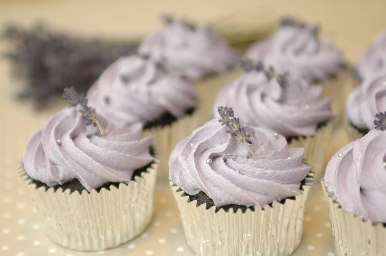 Chocolate cupcakes with buttercream swirl topped with dried lavender ...