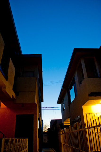 neighborhood view of twilight sky