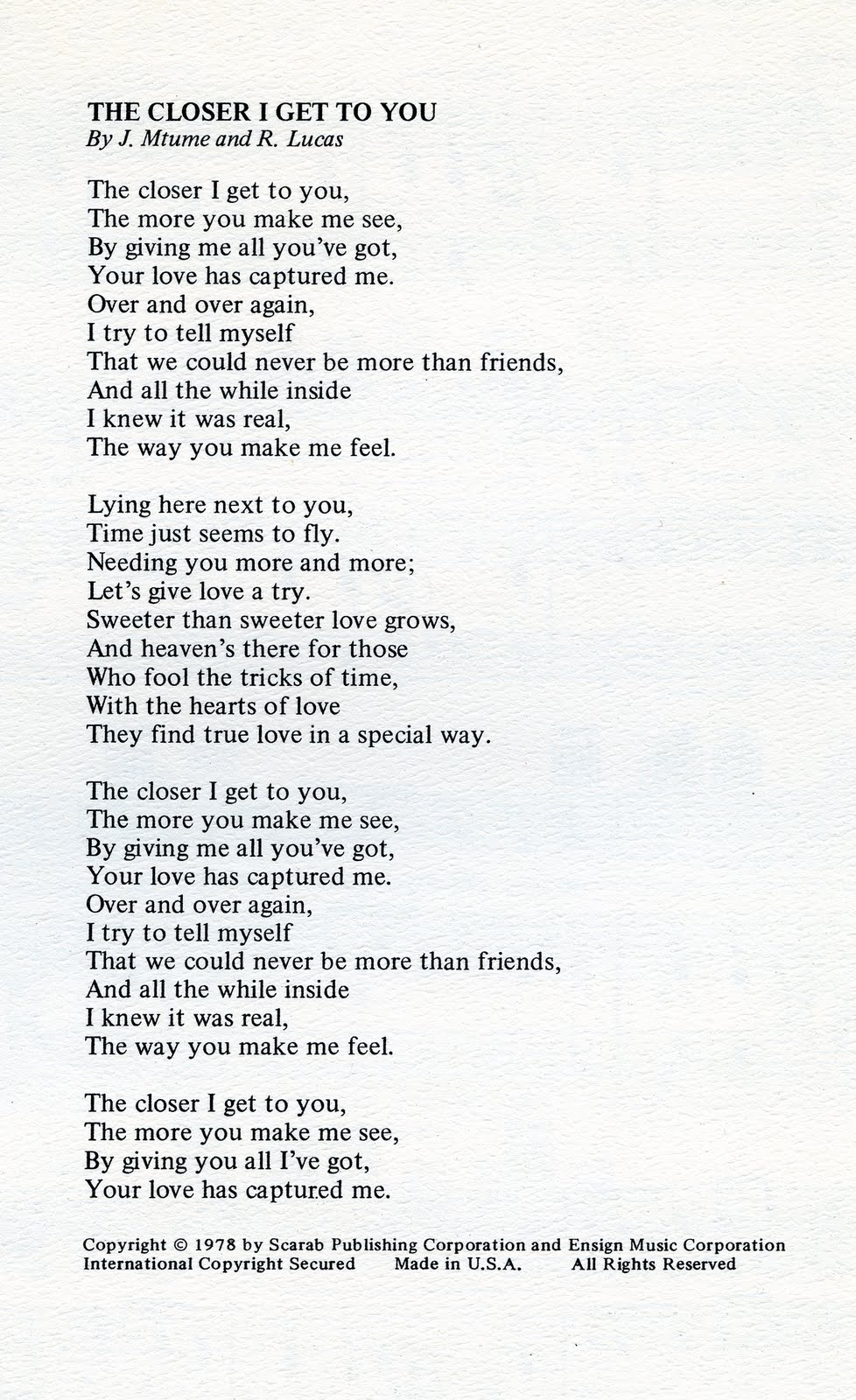 Donny Hathaway The Closer I Get To You Music Sheet 1978
