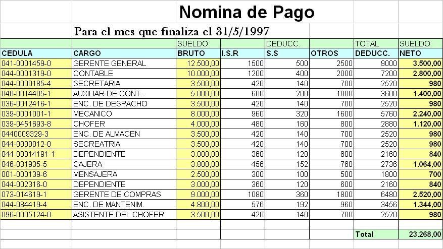 Nomina De Pago En Excel Newhairstylesformen2014com