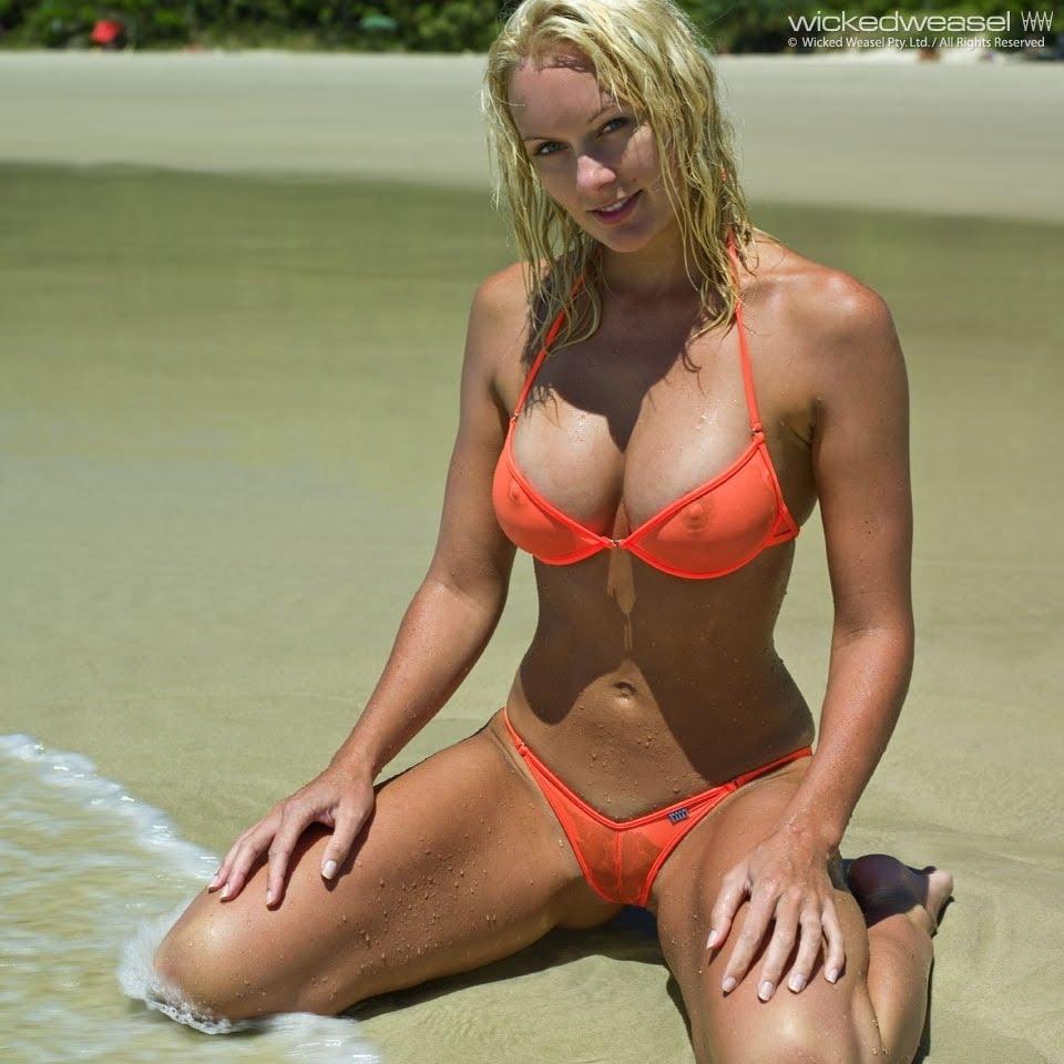 Wallpaper World: Super Hot Bikini Model BROOKE Red Lipstick Photoshoot