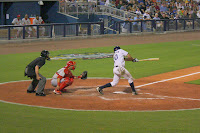 Michael Sheridan drove home three runs with a triple in game two to give the Stone Crabs the win.  Photo by Jim Donten.